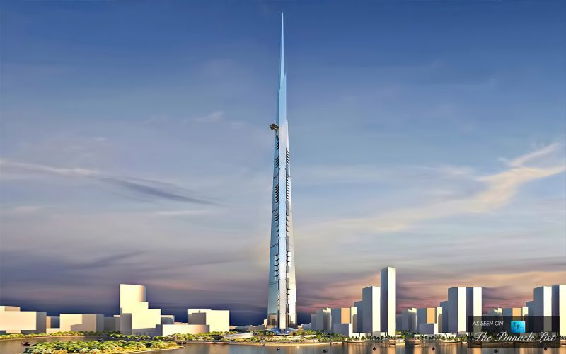 Tampilan The Kingdom Tower dari kejauhan