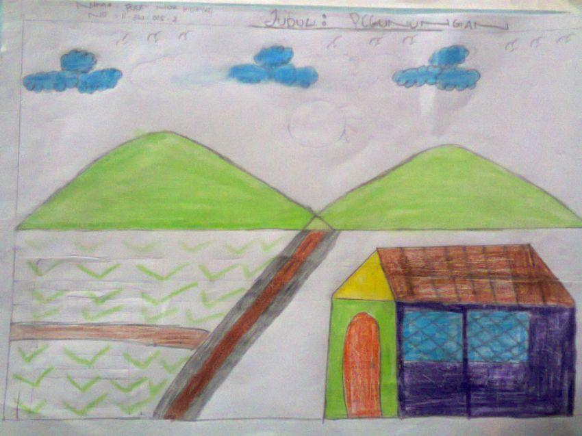 Template gambar pemandangan anak SD di Indonesia
