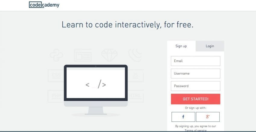 Tampilan Code Academy