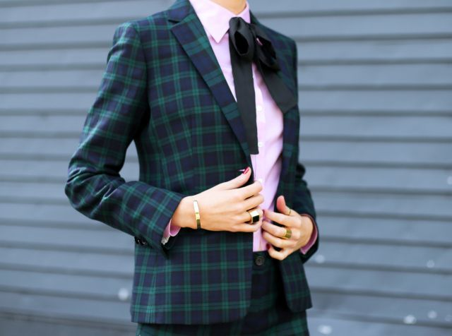 b brooks brothers black watch plaid tartan pants suit blazer jacket pleated skirt matches vince camuto structured cape pink button down black silk neck bow tie sjp sarah jessica parker marlene brogue detail pointy toe pu