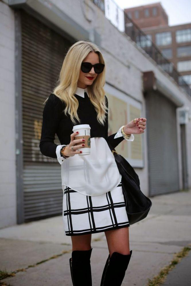 Kemeja putih dengan outer sweater pendek