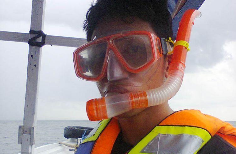 Biasakan diri dengan peralatan snorkeling