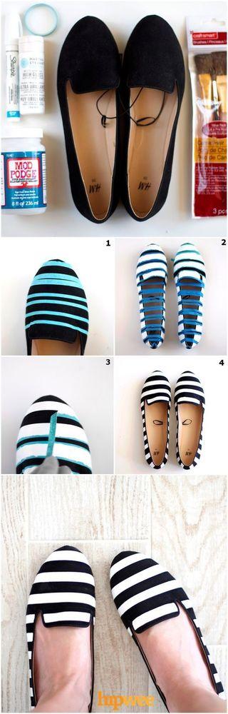 Sepatu polos jadi striped