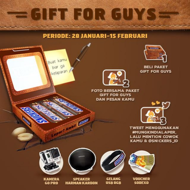 Snickers gift for guys, program asyik biar kamu bisa kasih kado yang unik