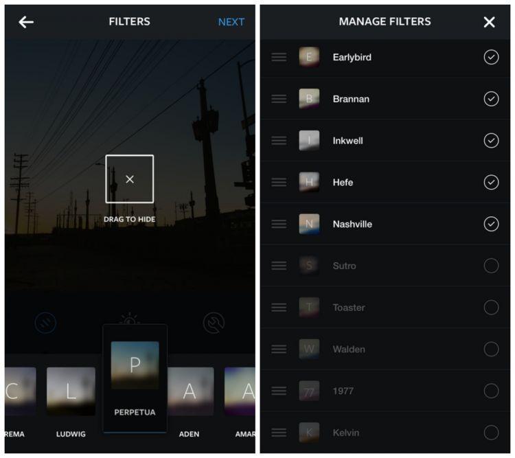 Me-manage filter Instagram