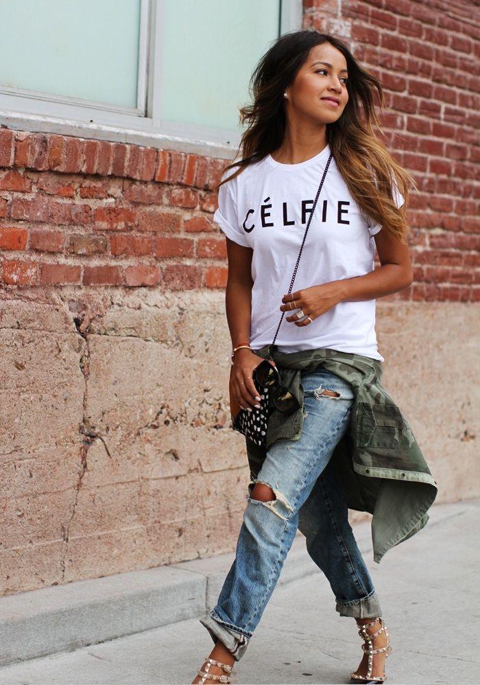 Bahkan dengan boyfriend jeans