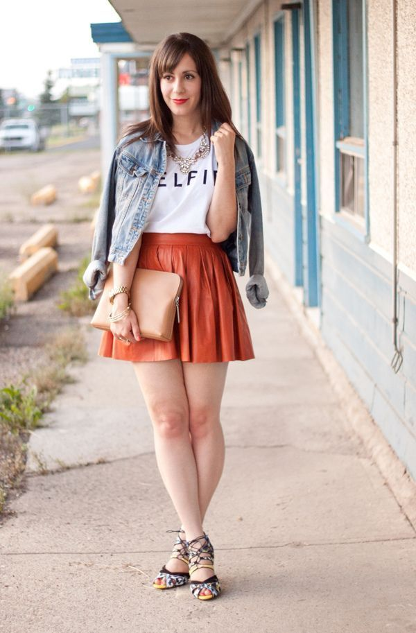 Jaket jeans + tee + rok + heels = cantik!