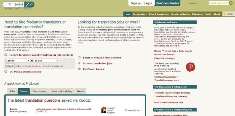 Proz.com menjadi salah satu situs adalan dan komunitas bagi para freelancer di bidang penerjemah