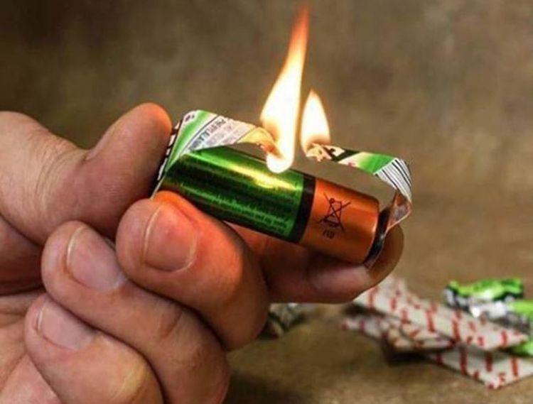 Membuat api menggunakan batere