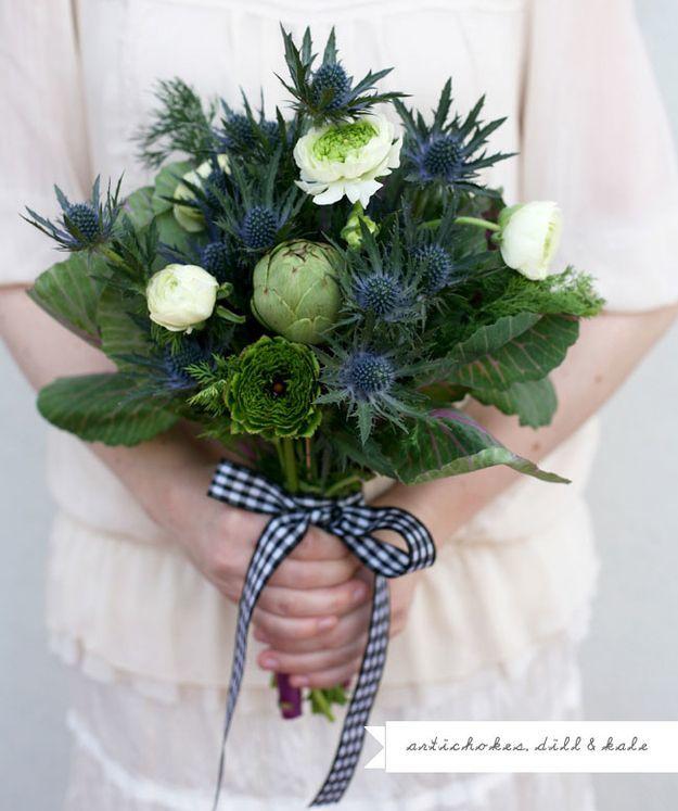 Buket bunga dan sayuran pernikahan unik