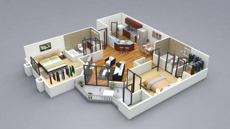 Rancangan 3D rumah minimalis untuk keluarga kecil