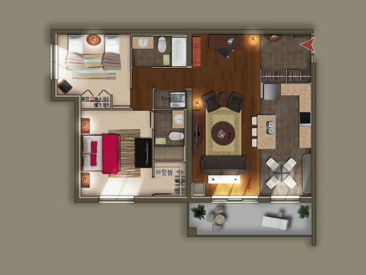 Desian rumah untuk 2 kamar