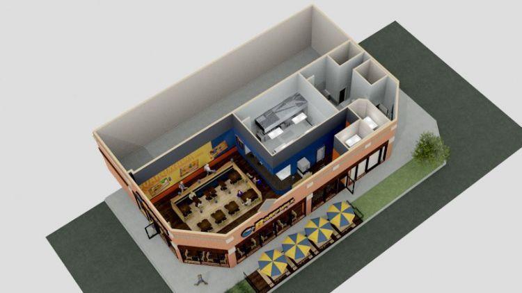 Desain 3D restoran atau cafe yang unik