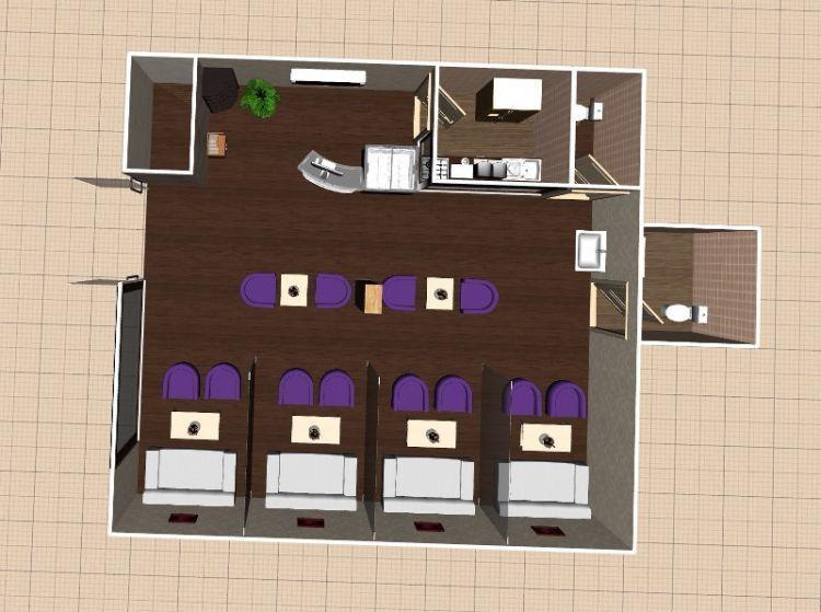 Desain tata ruang 3D cafe atau restoran