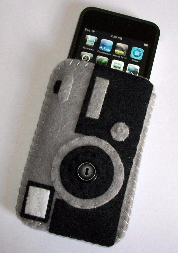 case dari flanel berbentuk kamera, selain gayanya yang keren, simple juga