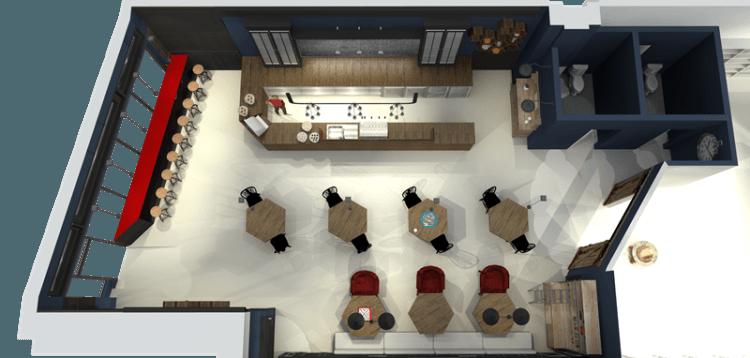 Desain 3D cafe indah