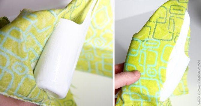 bungkus phone holder dengan kain perca