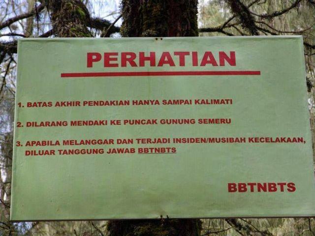 Batas pendakian Gunung Semeru