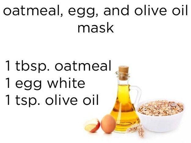 Masker dari oatmeal, putih telur, dan minyak zaitun