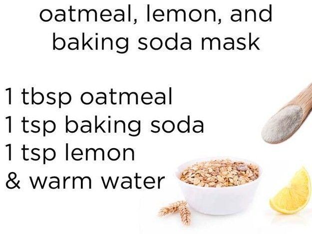 Masker dari oatmeal, baking soda, jus lemon, dan air hangat