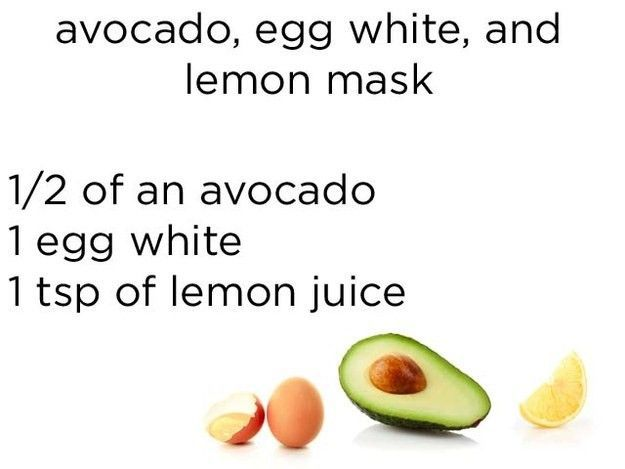 Masker dari buah alpukat, putih telur dan jus lemon