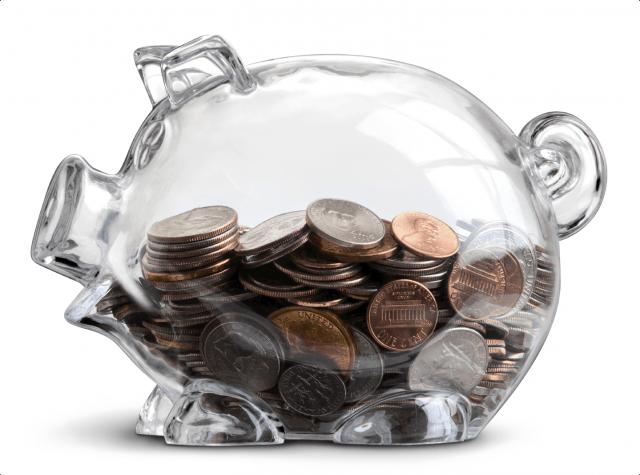 Transparent piggy bank