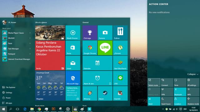 fitur dan kustomisasi windows 10