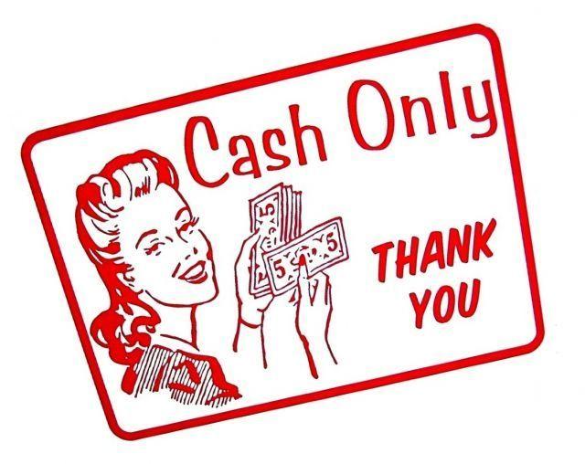 Carilah tulisan cash only atau kasir tunai