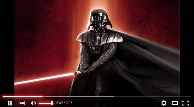 YouTube dengan tema Lightsaber