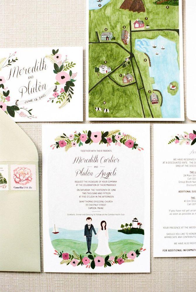 Kamu juga bisa ilustrasikan lokasi resepsimu di undangan