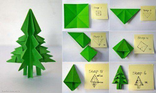 Pohon natal origami ini bisa menghias meja belajarmu