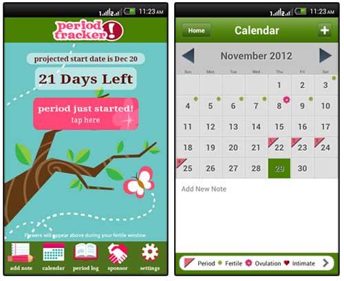 Salah satu aplikasi perekam catatan siklus menstruasi