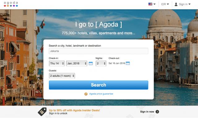 Homepage Agoda