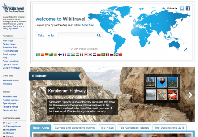 Homepage wikitravel