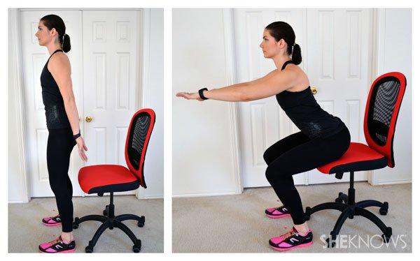 langkah-langkah chair squat