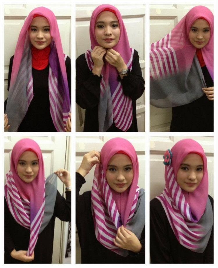 10 Gaya Hijab Segi Empat yang Beda. Buat Pipi Chubby