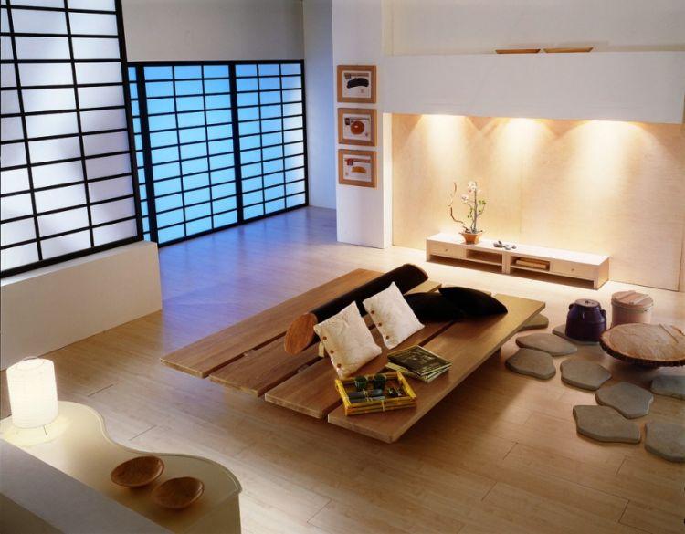 Ruang tamu ala Jepang yang minim furniture.