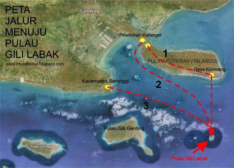 Peta jalur ke Pulau Tikus aka Gili Labak.