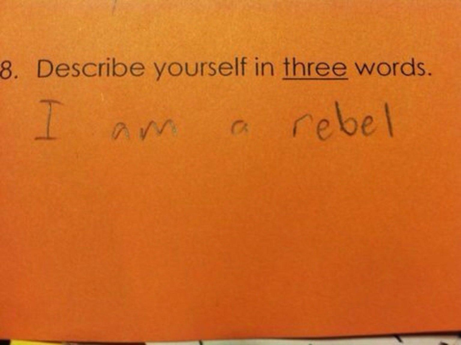 Describe yourself in 3 words essay