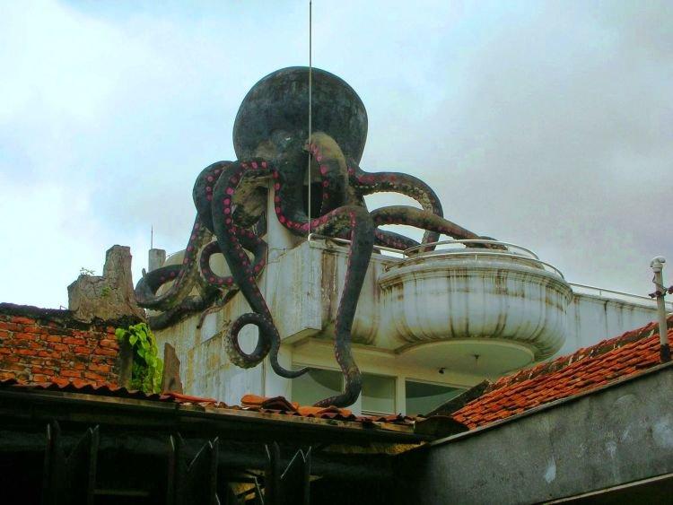 Seekor gurita raksasa merayap di atap rumah...