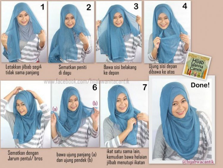 Tutorial hijab segi empat simple..