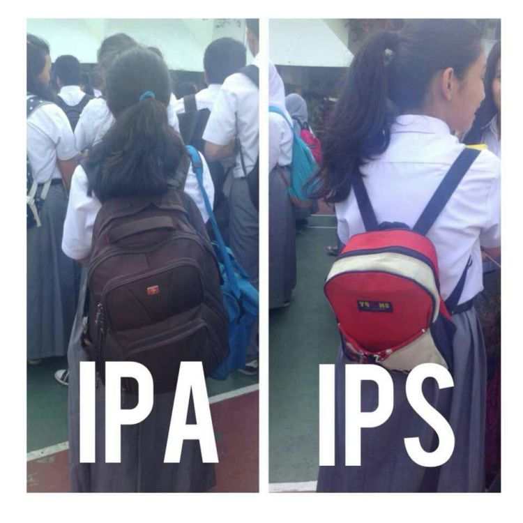 jangan dilihat dari tas kecil nan enteng yang pakai anak IPS, tapi juga kemampuan ya