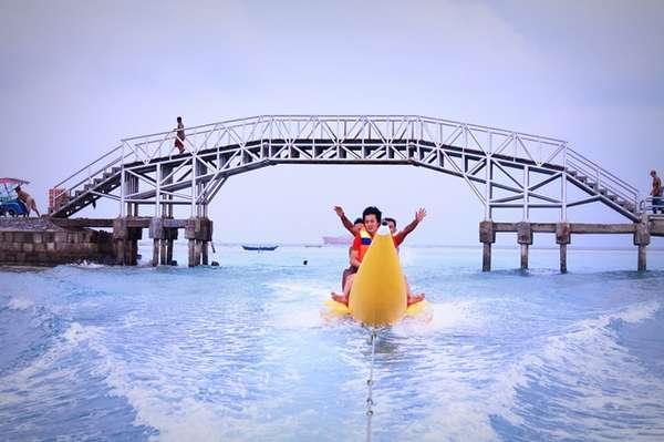 banana boat di pulau tidung