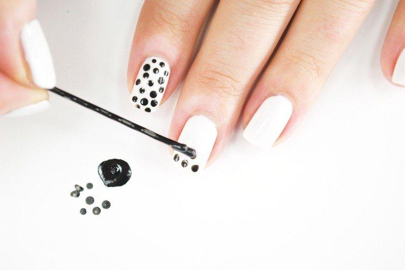 Как аккуратно сделать точки на ногтях