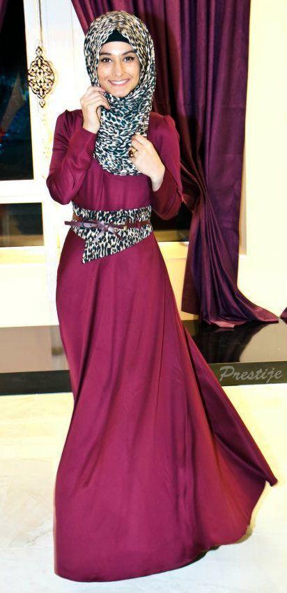 magenta dress + white leopard hijab