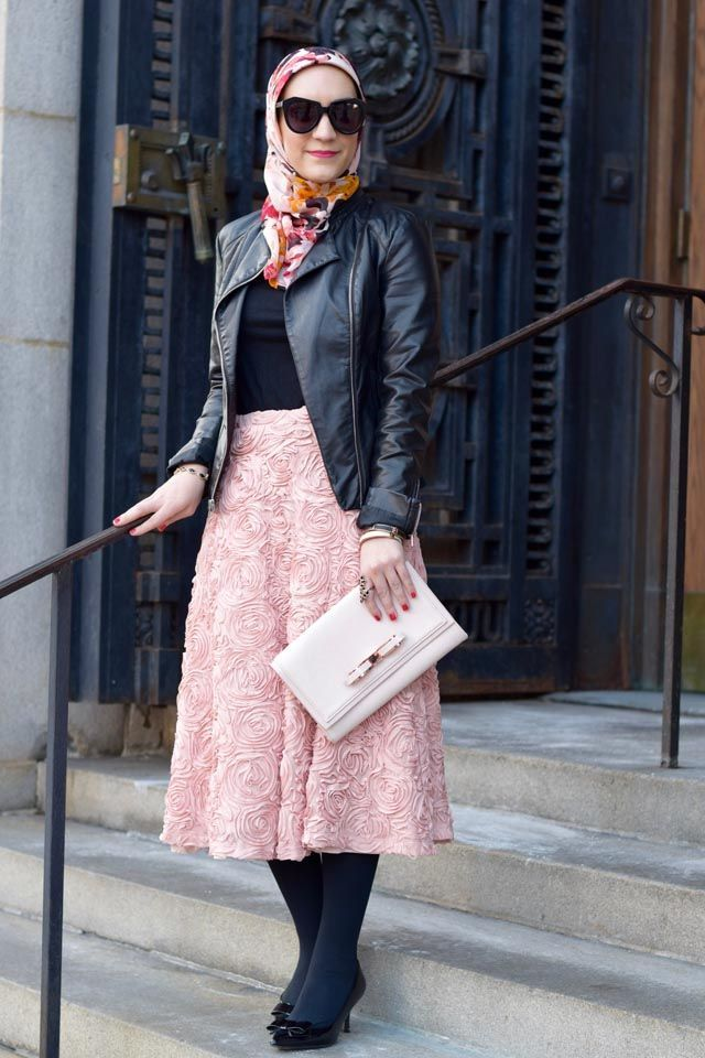 A Day In The Lalz Pink Skirt and Black Leather Jacket