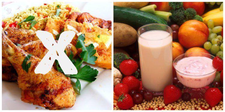 buah dan susu rendah lemak sebagai pengganti karbohidrat, lemak dan makanan manis
