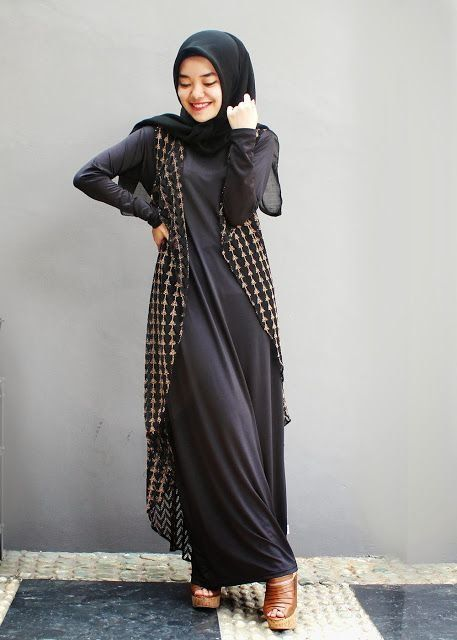 maxi dress, long vest kotak-kotak