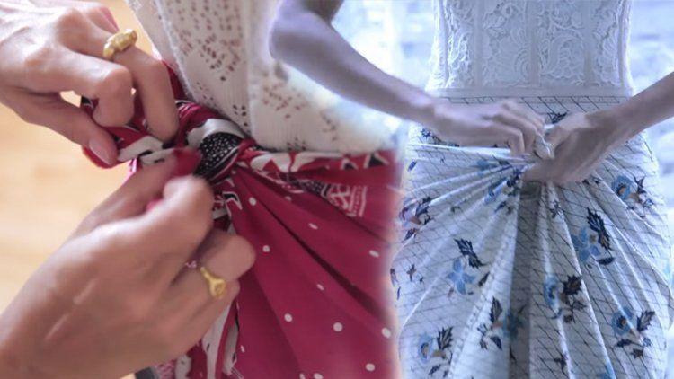 Tutorial Memakai Kain Batik Hanya dengan Dililit Saja Tak Perlu