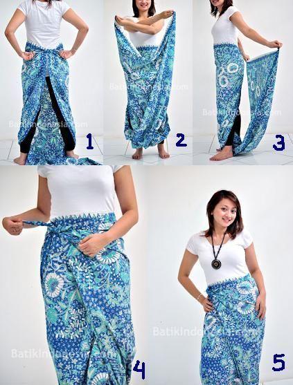 Tutorial Memakai Kain Batik Hanya dengan Dililit Saja. Tak